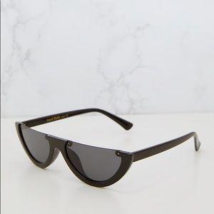 83c39393e2b PrettyLittleThing Accessories - Black Rounded Half Frame Retro Sunglasses